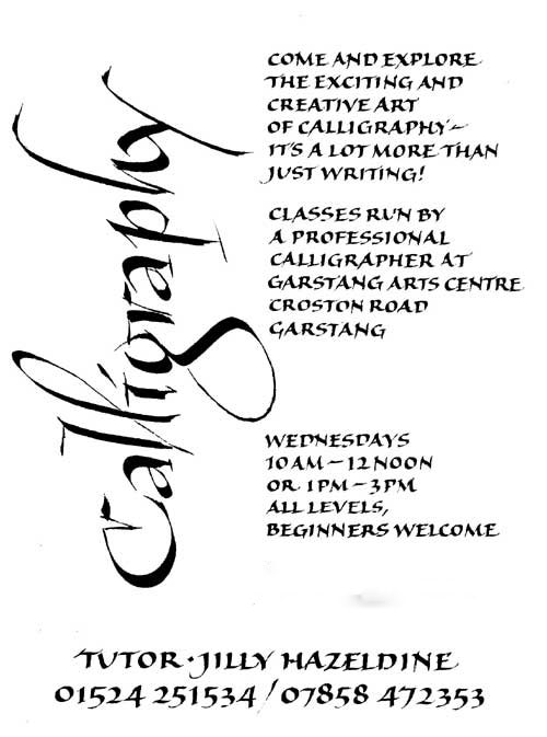 Calligraphy with Jilly Hazeldene at Garstang