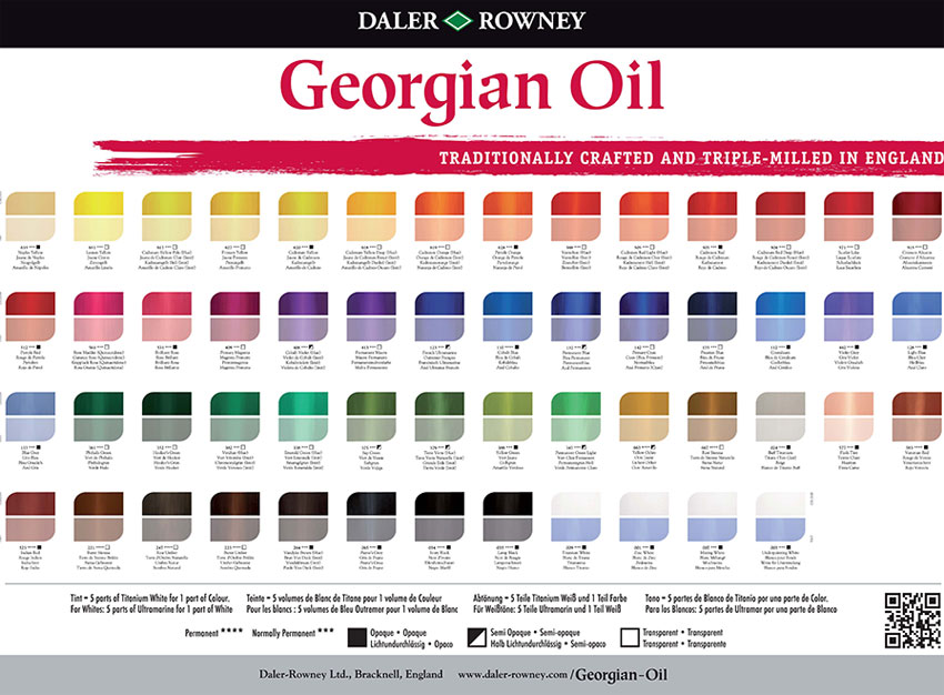 Georgian Oil Paint colour chart from Daler Rowney