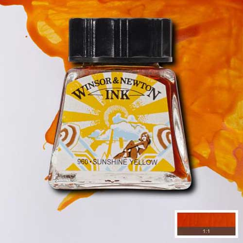 Sunshine Yellow Winsor Newton Drawing Inks colour chart