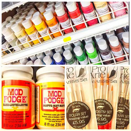 Mod Podge, paints, varnishes and brushes for all crafts