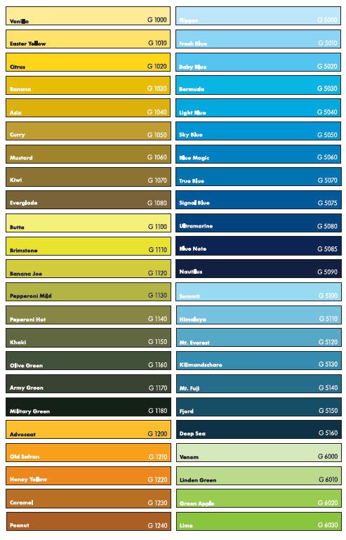Colour Charts For Montana Gold Spray Cans Marker Pens Information