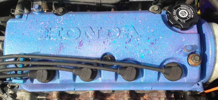 Montana Spray paint on working engine rocker cover