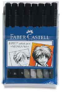 Manga  Faber Castell Pitt Artist Brush Pens plastic case of 8 individual shades and sizes Save over £5.50
